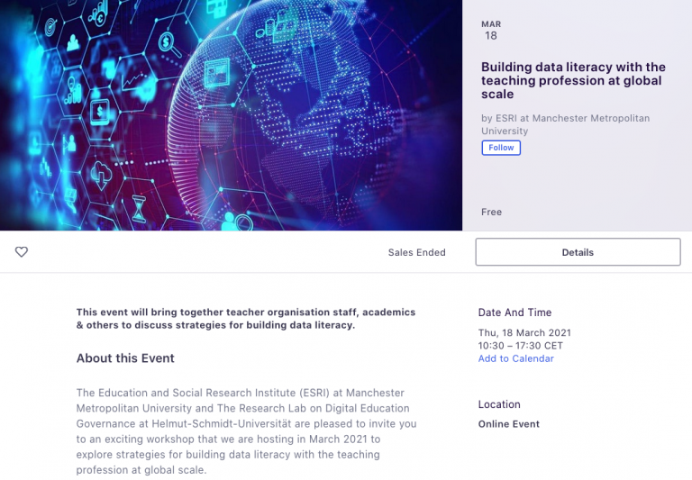 Conference - Building Data Literacy with the Teaching Profession at Global Scale